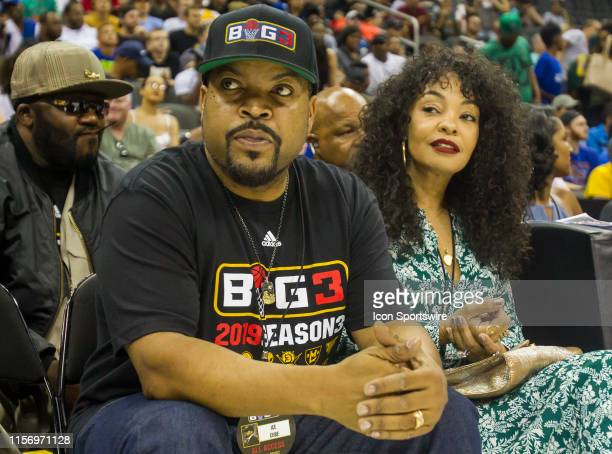 Rapper/Actor/Producer and Big 3 founder Ice Cube along with his wife Kimberly Woodruff attends BIG 3 Basketball event on Saturday July 20 2019 at the...