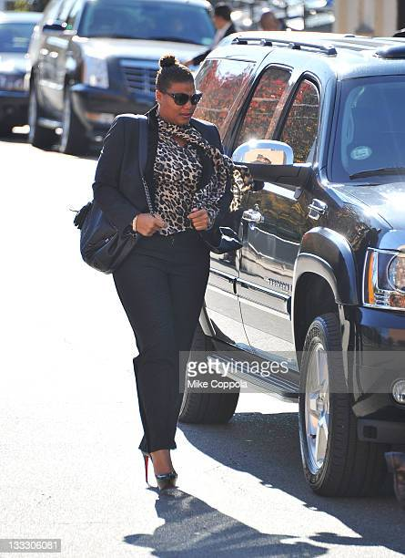 Rapper/actress Queen Latifah attends the funeral service for Heavy D at Grace Baptist Church on November 18 2011 in Mount Vernon New York