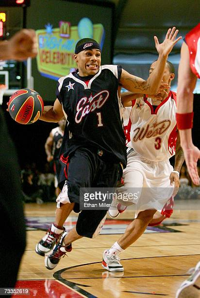 Rapper/east team player Nelly advances down the court during the McDonald's NBA AllStar Celebrity Game presented by 2K Sports held at Mandalay Bay...