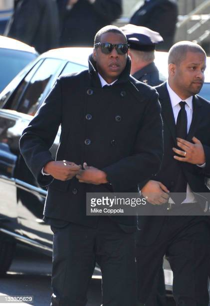 Rapper/entrepreneur JayZ attends the funeral service for Heavy D at Grace Baptist Church on November 18 2011 in Mount Vernon New York