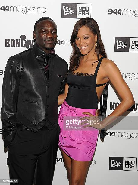 Rapper/HipHop Artist AKON and Actress/Model Shantelle attend the New Era and 944 Magazine Host PreGrammy Dinner for Superstar AKON at the 944 Studio...
