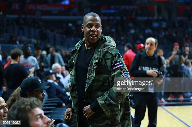 Rapper/musical artist and producer Jay Z attends the NBA game between the Miami Heat and the Los Angeles Clippers at Staples Center on January 13...