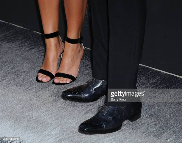 Rapper/producer Dr Dre and wife Nicole Young shoe detail attend the Premiere of HBO's 'The Defiant Ones' at Paramount Theatre on June 22 2017 in...