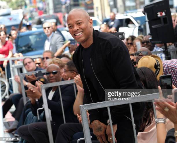 Rapper/producer Dr. Dre attends Ice Cube's Walk of Fame ceremony on June 12, 2017 in Hollywood, California.
