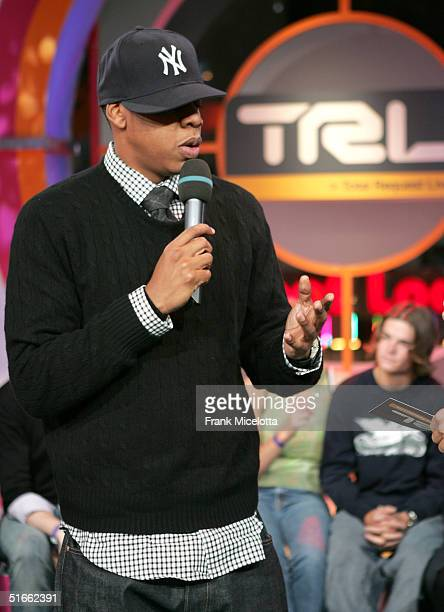 Rapper/Producer JayZ appears on stage during MTV's Total Request Live at the MTV Times Square Studios November 3 2004 in New York City