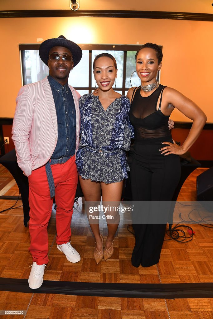 Rapper/producer Kwame, radio personality Maria More and singer Vivian Green at Upscale Magazine's Brunch Style featuring Vivian Green on August 20, 2017 in Atlanta, Georgia.