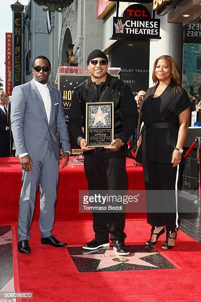 Rapper/Producer Sean 'Diddy' Combs Hiphop artist LL Cool J and singer/actress Queen Latifah attend a ceremony honoring Hiphop artist LL Cool J wtih a...