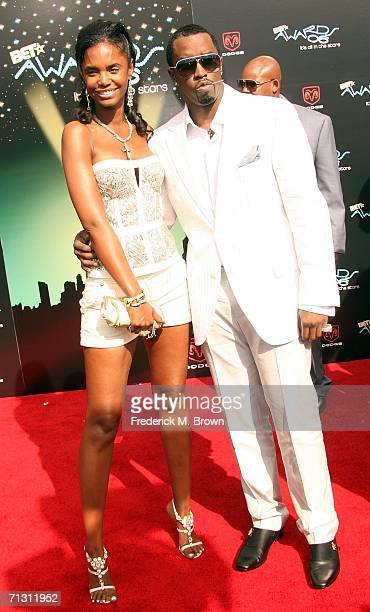 Rapper/Producer Sean 'P Diddy' Combs and model Kim Porter arrive at the 2006 BET Awards at the Shrine Auditorium on June 27 2006 in Los Angeles...