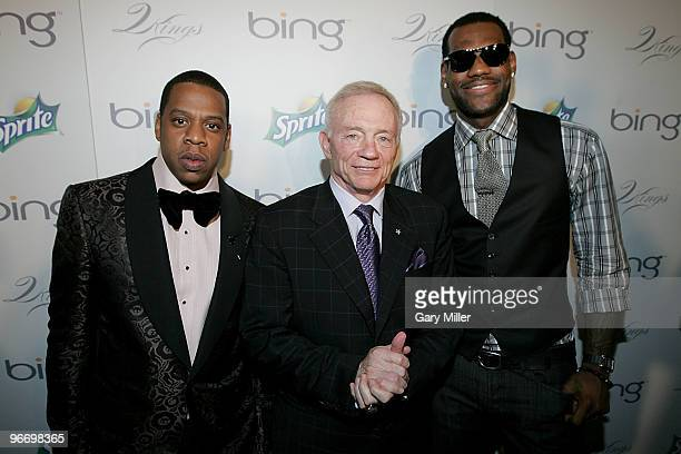 Rapper/producer Shawn JayZ Carter Dallas Cowboys owner Jerry Jones and NBA player LeBron James on the red carpet at the 4th annual Two Kings Dinner...