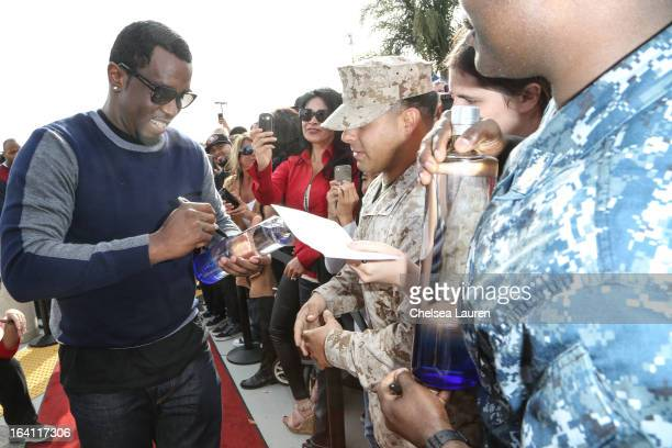 Rapper/producer/actor Sean Combs greets fans at Ciroc and Maxim celebration of the National Day of Honor at Miramar MCX Military Base on March 19...