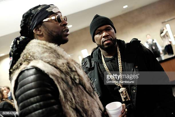 Rappers 2 Chainz and 50 Cent attend Kanye West Yeezy Season 3 on February 11 2016 in New York City