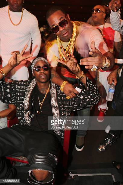 Rappers 2 Chainz and Busta Rhymes attend the BET Hip Hop Awards 2014 presented by Sprite at Boisfeuillet Jones Atlanta Civic Center on September 20,...