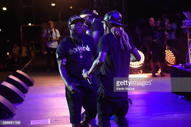 Rappers 2 Chainz Freeway and Lil Wayne perform onstage during the 2016 Budweiser Made in America Festival at Benjamin Franklin Parkway on September 3...