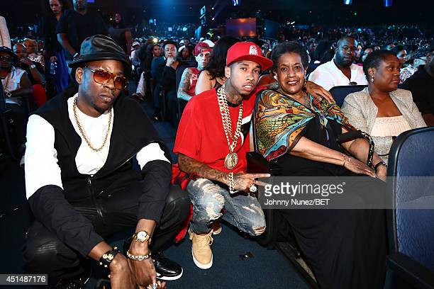 Rappers 2 Chainz Tyga and activist Myrlie EversWilliams attend the BET AWARDS '14 at Nokia Theatre LA LIVE on June 29 2014 in Los Angeles California