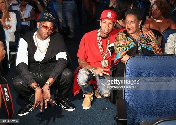 Rappers 2 Chainz Tyga and civil rights activist Myrlie EversWilliams attend the BET AWARDS '14 at Nokia Theatre LA LIVE on June 29 2014 in Los...