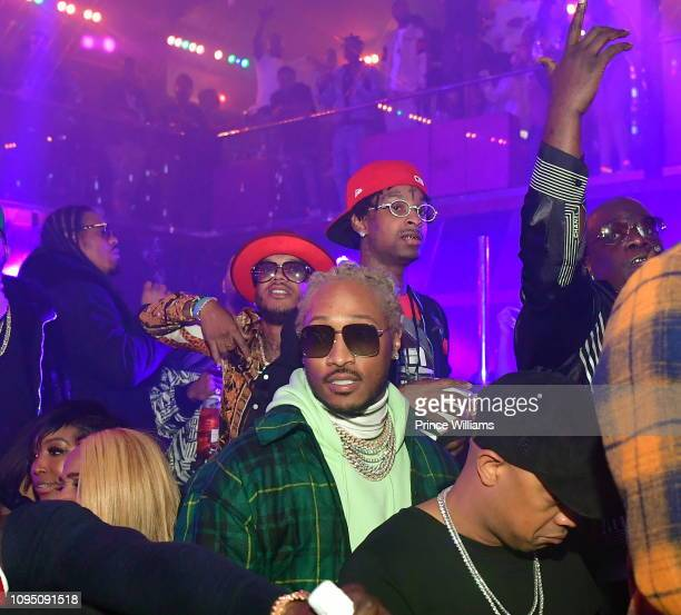 Rappers 21 Savage and Future attend the 2nd annual No Cap Tuesday at Gold Room on January 16 2019 in Atlanta Georgia