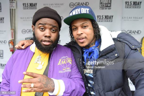 Rappers 24hrs and G Perico attend the Power 106 Powerhouse festival at Glen Helen Amphitheatre on May 12 2018 in San Bernardino California