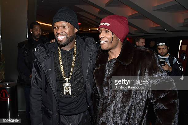 Rappers 50 Cent and ASAP Rocky attend Kanye West Yeezy Season 3 on February 11 2016 in New York City