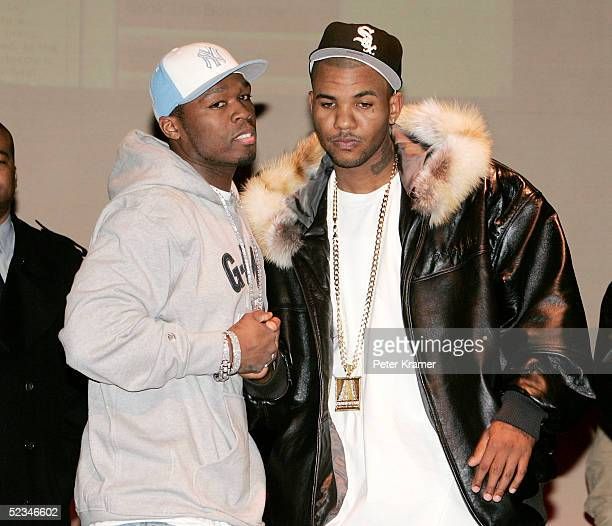 Rappers 50 Cent and The Game make an appearance at the Schomburg Center For Research in Black Culture to announce they have decided to put their...