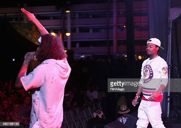 Rappers AbSoul and Gionardo Burg perform onstage during day 2 of the 2015 Life is Beautiful festival on September 26 2015 in Las Vegas Nevada