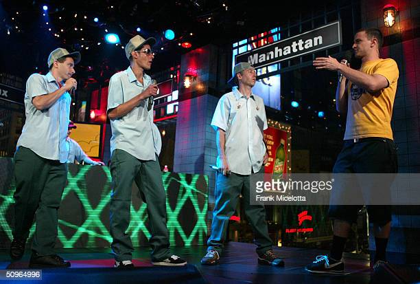 Rappers Adam Horovitz 'AdRock' Michael Diamond 'Mike D' and Adam Yauch 'MCA' of the Beastie Boys with host Jim Shearer appear on a live taping of...