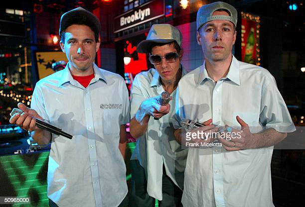 Rappers Adam Horovitz 'AdRock' Michael Diamond 'Mike D' and Adam Yauch 'MCA' of the Beastie Boys appear on a live taping of MTV's 'Live to the 5...
