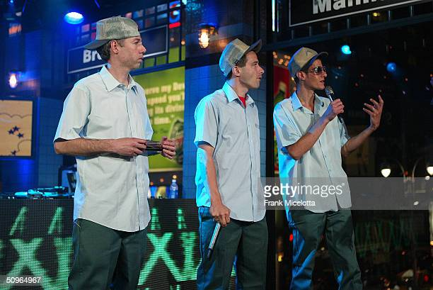 Rappers Adam Yauch 'MCA' Adam Horovitz 'AdRock' and Michael Diamond 'Mike D' of the Beastie Boys appear on a live taping of MTV's 'Live to the 5...