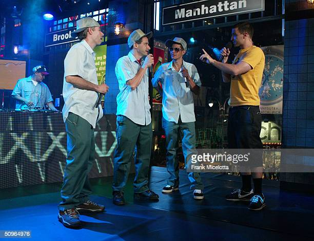 Rappers Adam Yauch 'MCA' Adam Horovitz 'AdRock' and Michael Diamond 'Mike D' of the Beastie Boys with host Jim Shearer appear on a live taping of...