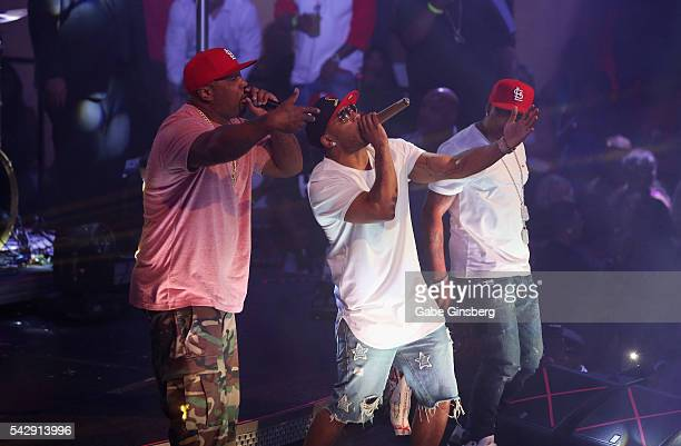 Rappers Ali, Nelly and City Spud of St. Lunatics perform at Drai's Beach Club - Nightclub at The Cromwell Las Vegas on June 25, 2016 in Las Vegas,...