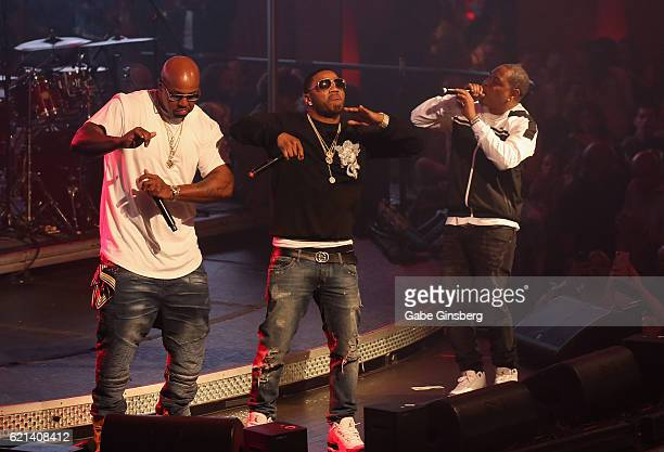 Rappers Ali, Nelly and City Spud of St. Lunatics perform at Drai's Beach Club - Nightclub at The Cromwell Las Vegas on November 6, 2016 in Las Vegas,...