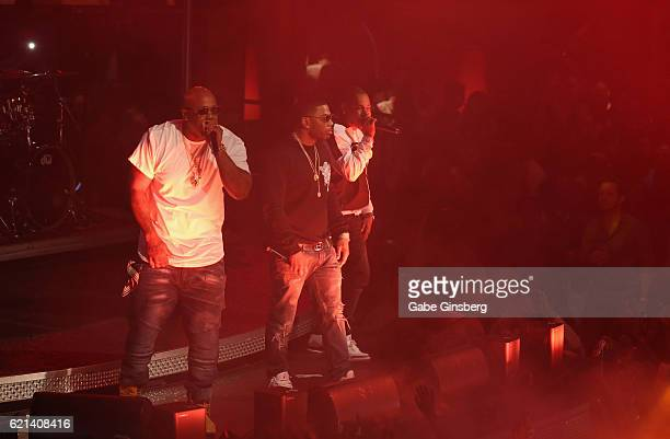 Rappers Ali Nelly and City Spud of St Lunatics perform at Drai's Beach Club Nightclub at The Cromwell Las Vegas on November 6 2016 in Las Vegas Nevada
