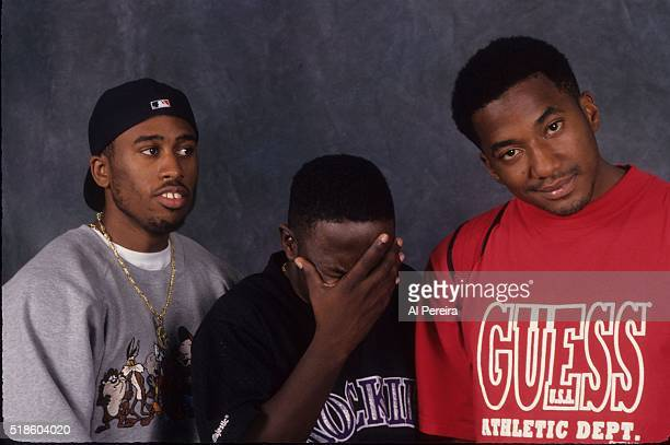 Rappers Ali Shaheed Muhammad Phife Dawg and QTip of the hip hop group A Tribe Called Quest poses for a portrait in September 1993 in New York