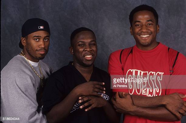 Rappers Ali Shaheed Muhammad Phife Dawg and QTip of the hip hop group 'A Tribe Called Quest' poses for a portrait in September 1993 in New York
