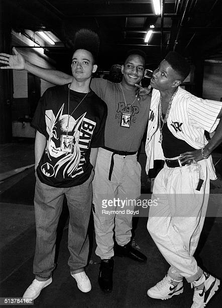 Rappers and actors Kid 'n Play and their deejay DJ Wiz poses for photos after their performance at The Arena in St Louis Missouri in 1989