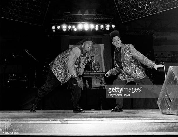 Rappers and actors Kid 'n Play performs at the Arie Crown Theater in Chicago Illinois in 1990