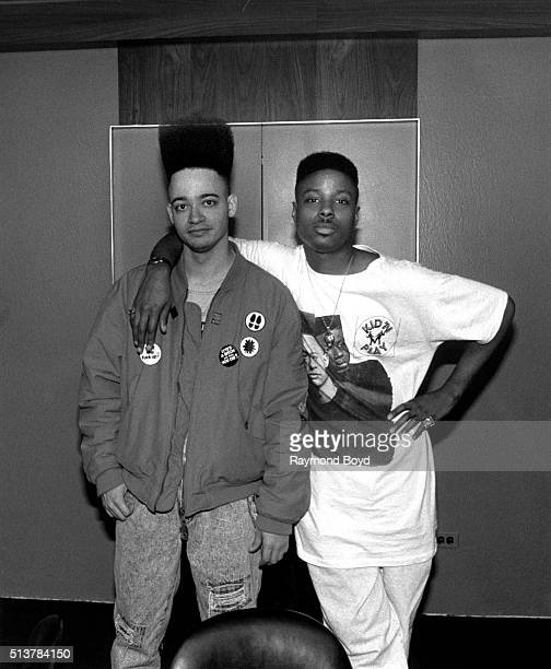 Rappers and actors Kid 'n Play poses for photos after their performance at the Arie Crown Theater in Chicago Illinois in 1989