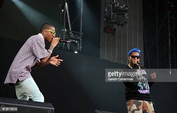 Rappers Antoine Reed aka Mikey Rocks and Evan Ingersoll aka Chuck Inglish of The Cool Kids perform on the main stage during day 1 of the O2 Wireless...