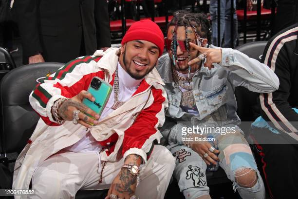 Rappers, Anuel AA and Lil Pump attend the game between the Dallas Mavericks and the Miami Heat on February 28, 2020 at American Airlines Arena in...