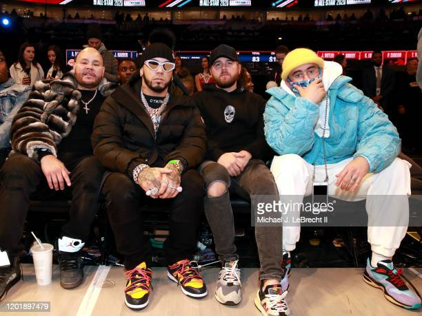 Rappers Anuel AA Bad Bunny and Fat Joe pose for a photo during the NBA AllStar Game as part of 2020 NBA AllStar Weekend on February 16 2020 at the...