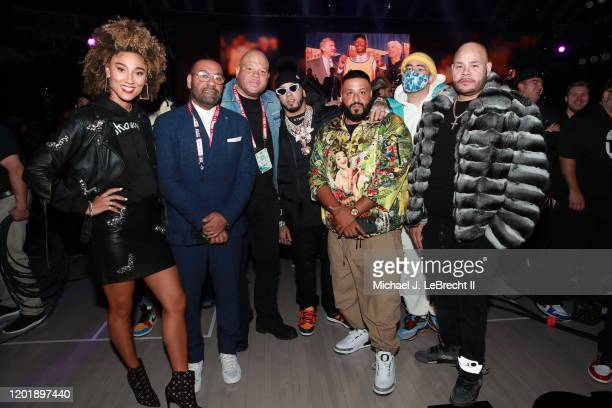 Rappers Anuel AA DJ Khaled Bad Bunny and Fat Joe pose for a photo during the NBA AllStar Game as part of 2020 NBA AllStar Weekend on February 16 2020...