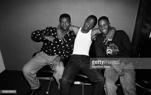 Rappers Aqil Davidson Markell Riley and Brandon Mitchell from WreckxNEffect poses for photos backstage at the Arie Crown Theater in Chicago Illinois...