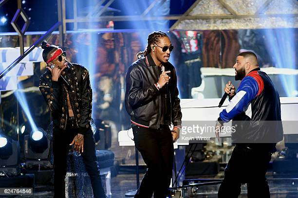 Rappers August Alsina and Future and DJ Khaled perform onstage during the 2016 American Music Awards at Microsoft Theater on November 20 2016 in Los...