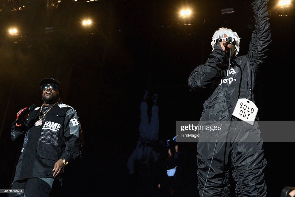 Rappers Big Boi (L) and Andre 3000 of Outkast perform onstage during day 2 of the 2014 Life is Beautiful iestival on October 25, 2014 in Las Vegas, Nevada.