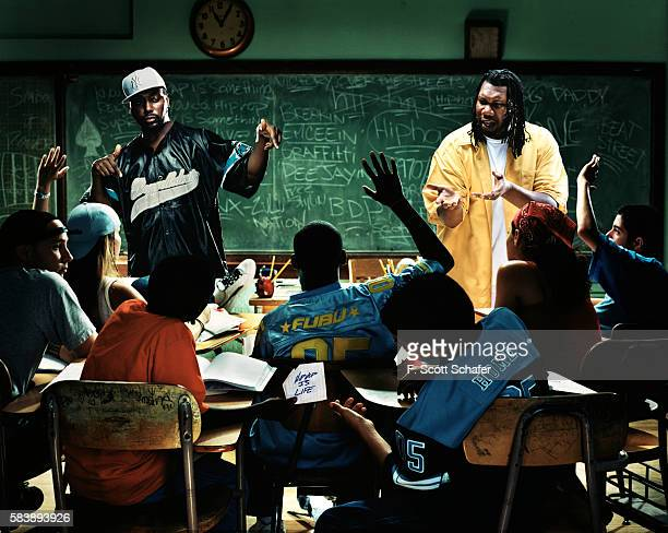 Rappers Big Daddy Kane and KRSOne is photographed for The Source Magazine in 2002 PUBLISHED IMAGE