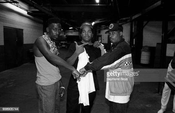 Rappers Big Daddy Kane Ice Cube and Chuck D poses for photos backstage at The Arena in St Louis Missouri in August 1989