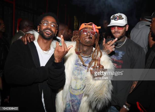 Rappers Big Sean and Lil Wayne and singer Chris Brown attend Lil Wayne's 36th birthday party and Carter V release at HUBBLE on September 28 2018 in...