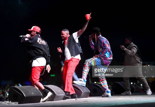 Rappers Big Sean YG 2 Chainz and DJ Mustard perform onstage as a special guest of YG during Weekend 1 Day 3 of the Coachella Valley Music and Arts...