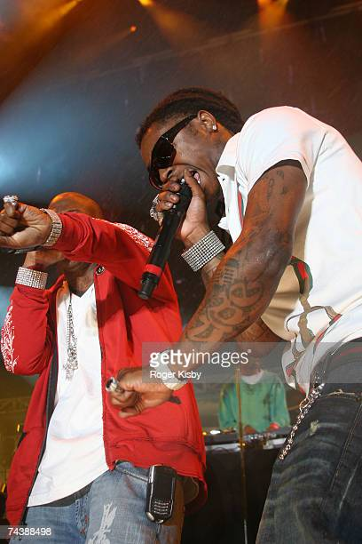 Rappers Birdman and Lil' Wayne perform onstage during the Hot 97 Summer Jam presented by Boost Mobile at Giants Stadium on June 3 2007 in East...