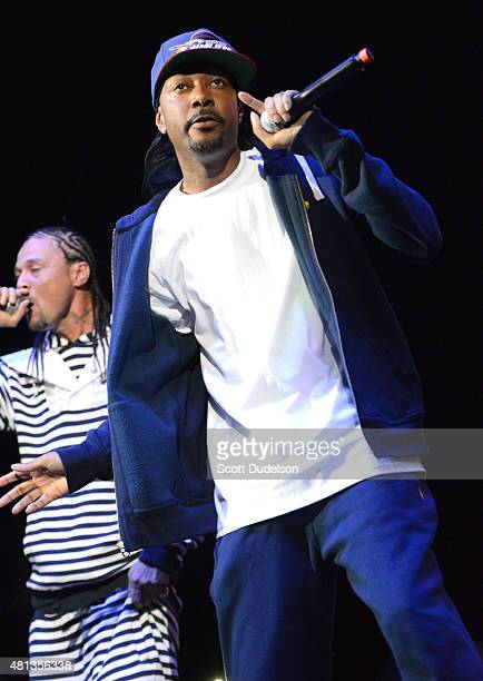 Rappers Bizzy Bone and Krayzie Bone of Bone ThugsNHarmony perform onstage at Irvine Meadows Amphitheatre on July 18 2015 in Irvine California