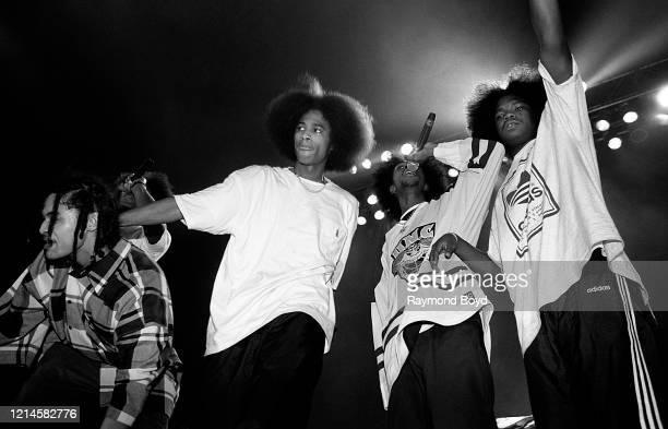 Rappers Bizzy Bone Layzie Bone Krayzie Bone and Wish Bone of Bone ThugsNHarmony performs at the International Amphitheatre in Chicago Illinois in...